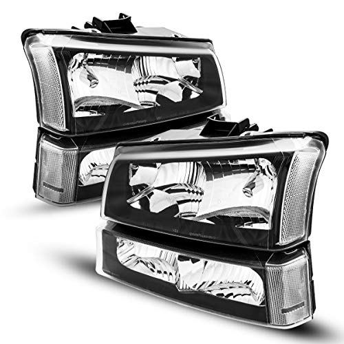 KAC Headlight Assembly for 2003 Silverado 1500 Headlights, Replacement Headlight Compatible with 2003-2007 Silverado/Avalanche 2500 1500HD 2500HD, Black Housing Clear Lens Driver and Passenger Side