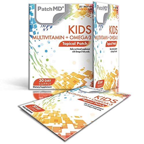 PatchMD Kids Multivitamin + Omega-3 30 Daily Topical Patches. 100% Natural & Cruelty Free. Allergy & Filler Free. High Absorption More bioavailable. Suitable for Sensitive stomachs & bariatric.