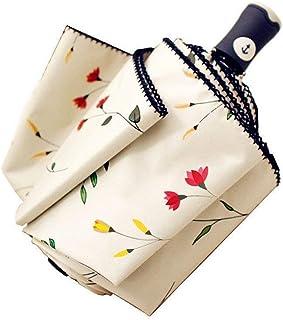 Cuby 折り畳み傘 折り畳み傘 日傘 自動開閉 折りたたみ傘 レディース傘 高強度グラスファイバー 8本骨 晴雨兼用 日傘 UVカット 紫外線遮蔽率99% 高密度NC布 耐風撥水 収納ポーチ付き「四時の海棠」