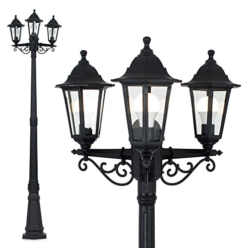 Traditional Victorian Style 2.2m Black 3 Way IP44 Outdoor Garden Lamp Post Light