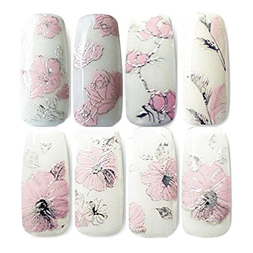 Asien 3D Nail Art Autocollants - 2 Feuilles Nail Art Stickers DIY Décorations Transfert de l'eau Soins des ongles (Rose)