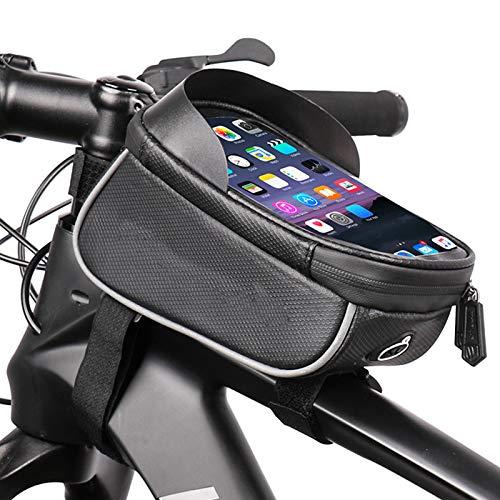 Bolsa de Cuadro de Bicicleta Bolsa de Tubo Superior para Montar Bolsa de Sillín de Gran Espacio Impermeable Bolsa de Viga Delantera de Bicicleta de Montaña, para Teléfonos de Hasta 6.0 Pulgadas