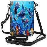 Ives Jean Monedero para teléfono celular, acuario, delfín, peces, algas, mar azul, bandolera, ligero, portátil, pequeña, cartera impermeable