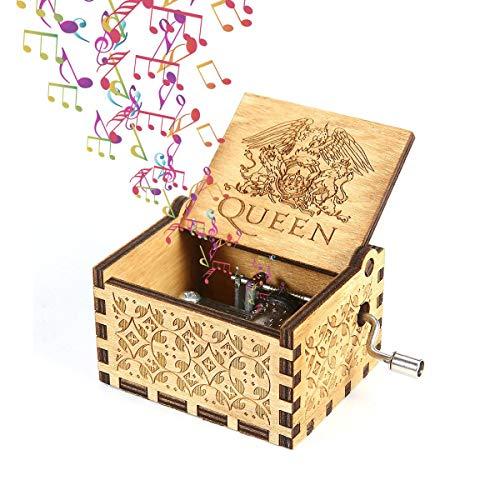 Fewao Queen Caja de música de Madera manivela clásica Caja de música Manualidades Mecanismo Antiguo Tallado Caja Musical Regalos para niños Freinds Adultos