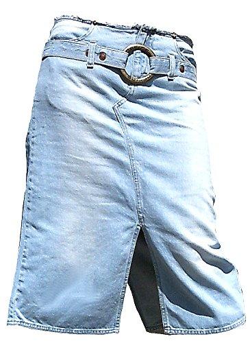Fornarina Damen Jeans Rock Blau Model Kick-Kick mit Gürtel und Schnalle M W28 38
