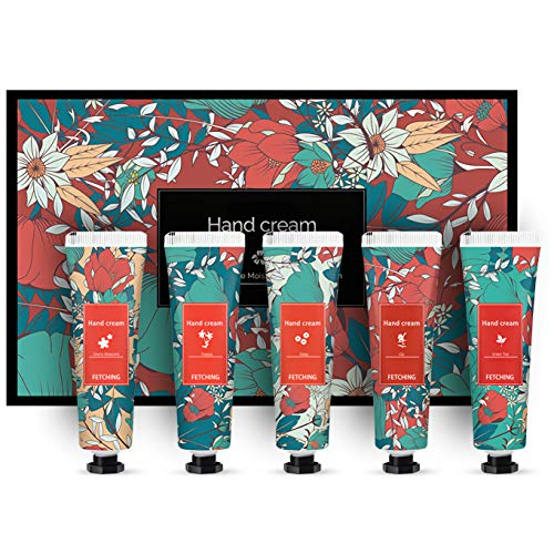 DAMORN 5 Packs Moisturizing Hand Cream Travel Set, Rich In Shea Butter And Multivitamins, Dry Skin, Floral Fragrance, Best Gift For Wife, Mother, Lady, Woman,Men