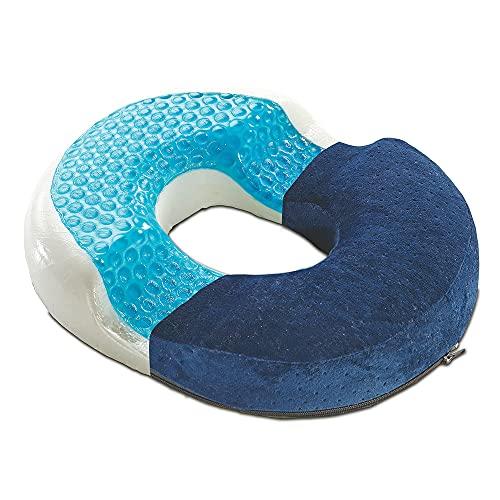 Sitzring Orthopädisch, Hämorrhoiden-Sitzkissen, Dekubitus-Kissen, Prostata-Kissen mit Gel & Visco-Schaum, Druckentlastend, geeignet für Auto, Büro- & Rollstuhl sowie Reisen, 40x30cm (dunkelblau)