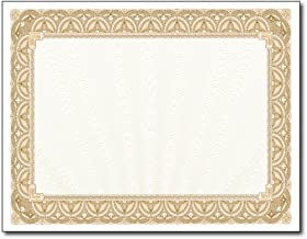 Gold Border Blank Certificate Paper - 100 Pack - 8.5