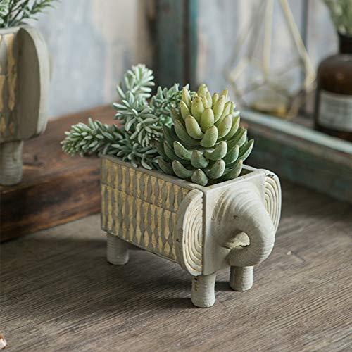 JJAIR Animal Abstract Elephant Florals, Flower Pots, Cement Ethnic Decorative Ornaments, Balcony Garden Planting Succulent Green Plants,S