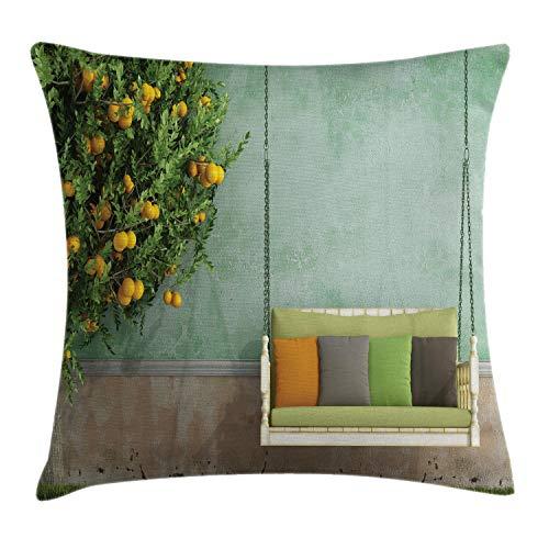 ABAKUHAUS Tuin Sierkussensloop, Houten schommel in de tuin, Decoratieve Vierkante Hoes voor Accent Kussen, 50 cm x 50 cm, Geel groen