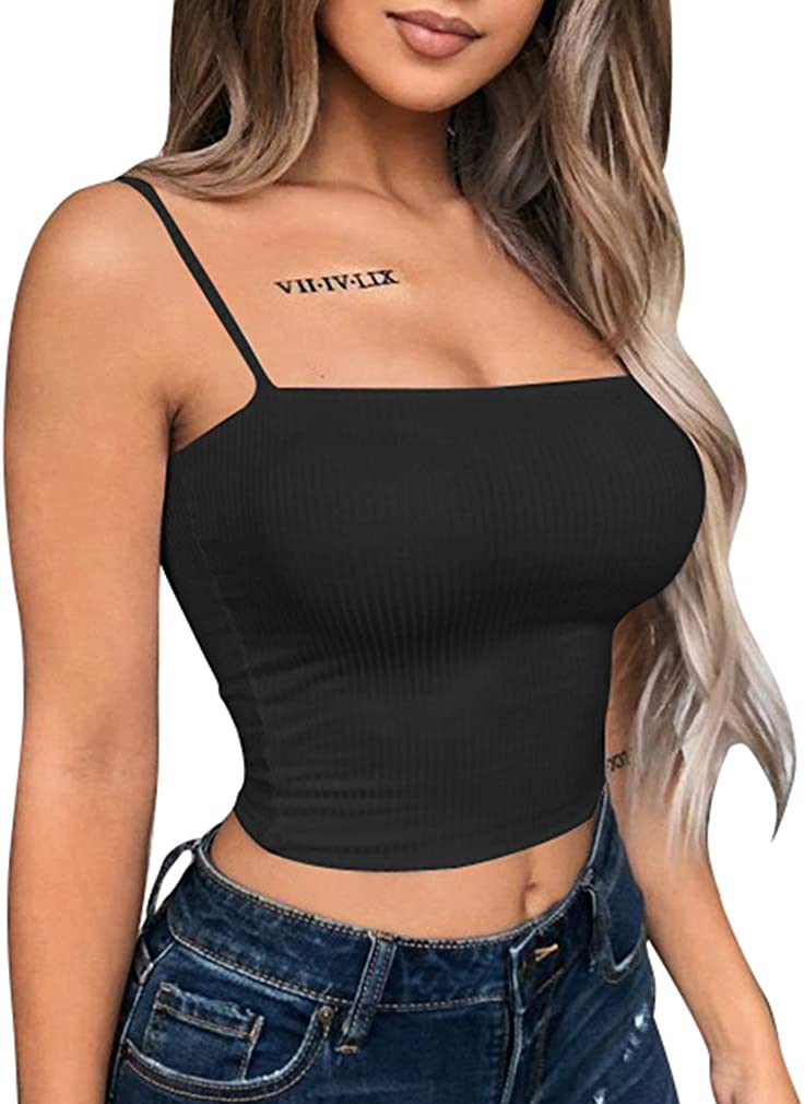 YMDUCH Women's Sexy Crop Top Stretch Spaghetti Strap Ribbed Knitted Basic Cami