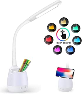 Draxon LED Desk Reading Lamp Eyes Care Study Table RGB Light With Desk Organizer Pen Holder, Touch Control, 3 Color Temper...