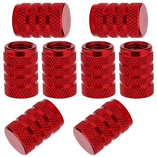 SAVITA 8 Pièces Bouchons de Tige de Valve de Pneu, Couvercle de Bouchon de Valve de Pneu en Aluminium avec Anneau en Caoutchouc pour Voitures, SUV, Vélos, Camions, Motos (Red)