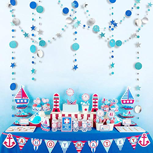 Heng 4m Glitter Circle Garland Banner Bunting Paper String Vlag Gordijn Kwasten Bruiloft Verjaardagsfeestje Decoratie Supply, mix blauwe cirkel