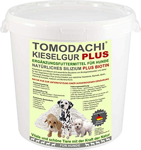 Kieselerde Silizium Plus Biotin Hund Ergänzungsfuttermittel BARF Zusatz natürlicher Futterzusatz für eine ausgewogene Ernährung des Hundes reich an Silizium Biotin Calzium Mineralien 1L Eimer