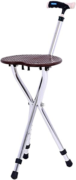 Health Folding Cane Seat Stool Old People Retractable Lightweight Adjustable Height Walking 300 Lbs Capacity Combo Three Legged Deluxe Massage Crutches Aluminum Travel Aid