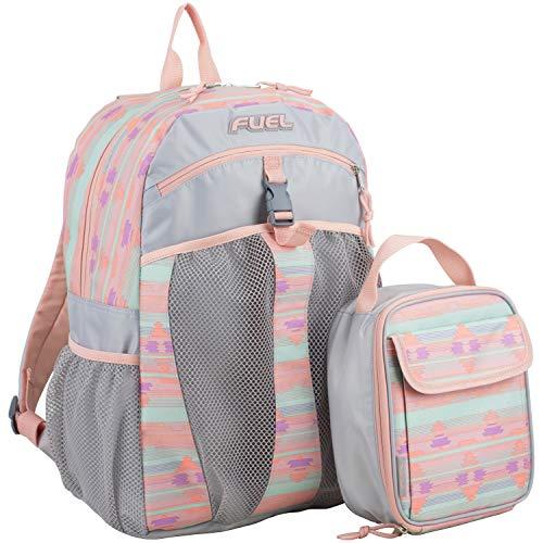 Fuel Backpack & Lunch Bag Bundle, Blush/Soft Silver/Rainbow Aztec Print