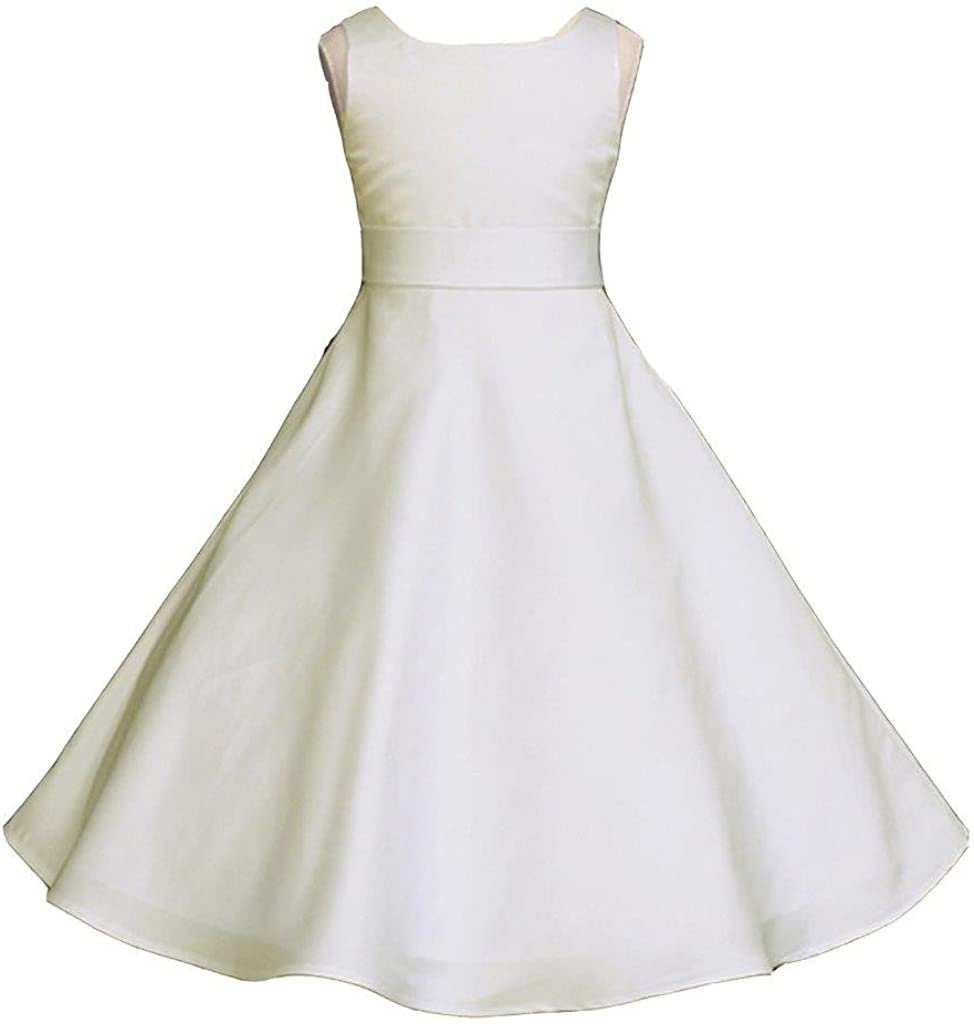 Pink Promise Wedding Pageant Ivory Satin Jr. Fees free Matte Brides A-Line Cheap mail order sales
