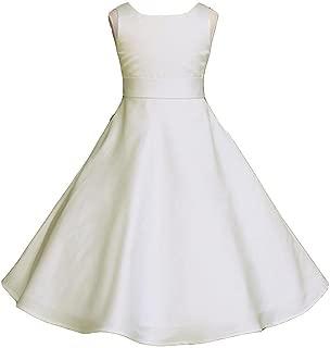 Pink Promise Wedding Pageant Ivory A-Line Matte Satin Jr. Bridesmaid Flower Girl Dress