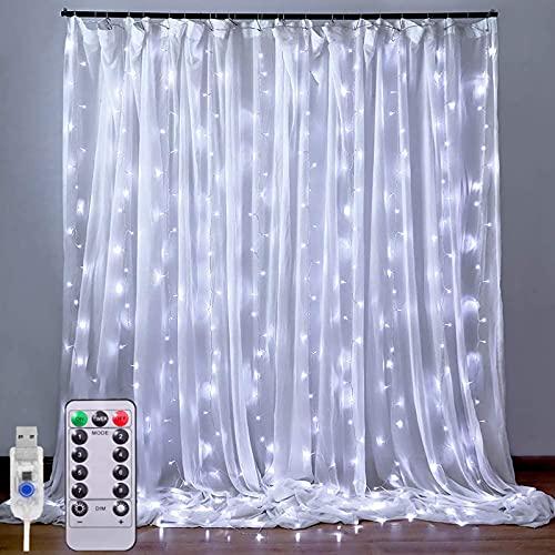 Rideau Lumineux - 3M*3M Guirlande Lumineuse Rideau 300LEDs à USB, 8 Modes d'Eclairage avec Télécommande Decoration de Fenêtre,Noël,Mariage,Anniversaire,Maison,Patio,Etanche(blanc froid)