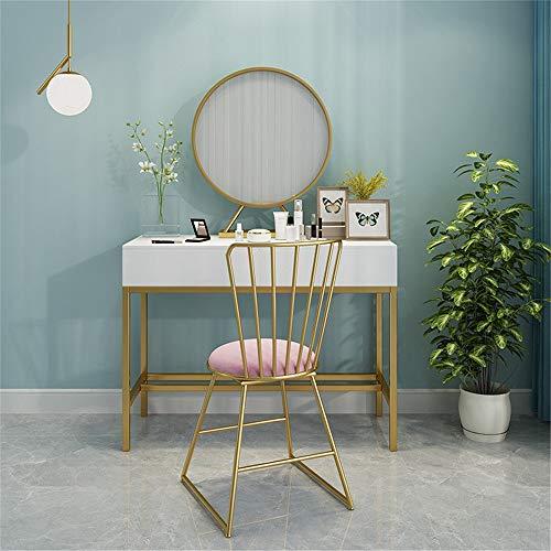 Ouuager-Home Schminktische Make-up-Tisch und Stuhl Kombination Frisierkommode Schlafzimmer Tischdressing (Color : White, Size : 80x40cm)