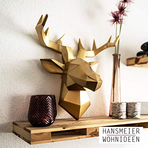 Hansmeier Testa di Cervo Scultura Parete - Oro - 42 x 41 cm - Decorazione da Parete Moderno - Materiale Robusto - Prezioso, Elegante, Astratto (Oro)