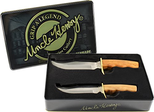 Uncle Henry SCPROM-16-13CP Fixed Blade Knife Set with Limited Edition Gift Tin, Wood, 2-Piece
