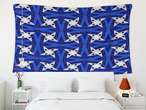 Tapiz del Rey Tapiz, Psychedelic Spiral Stripe, Tapiz, Wall Art Tapiz para decoración del hogar Marcador de Dibujo Hecho a Mano patrón étnico de caleidoscopio sin Fisuras con ráster Azul n