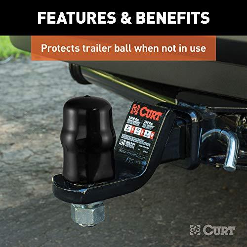 CURT 21801 Black Rubber Trailer Hitch Ball Cover, 1-7/8 or 2-Inch Diameter