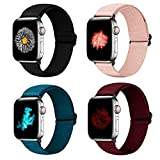 YCHDDER Nylon Elastic Watch Band Compatible with Apple Watch 38mm 40mm, Adjustable Sport Solo Loop Wristband Strap Compatible with iWatch Series 6/5/4/3/2 / 1SE(Black+Winered+Pink+Royal blue)