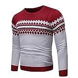 Suéteres para Hombre Otoño e Invierno Moda Color a Juego Cuello Redondo Manga Larga Suéter Ajustado de algodón Suéter 3XL