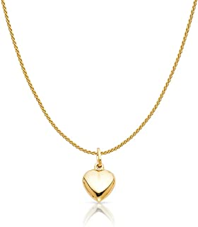 14K Yellow Gold Plain Heart Charm Pendant with 0.9mm Wheat Chain Necklace