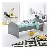 Alfred & Compagnie - Juego de cama Alban, somier y colchón gris koala (90 x 200 cm)