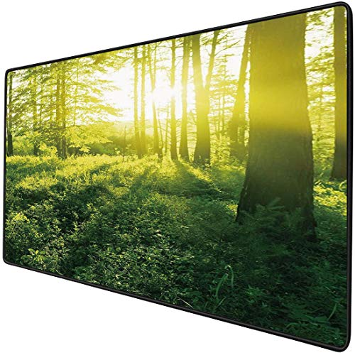 Mouse Pad Gaming Functional Nature Thick Waterproof Desktop Mouse Mat Sunrise in Forest Greenland Morning Grass Herbs Field Trees Idyllic View Decorative,Fern and Apple Green Non-slip Rubber Base