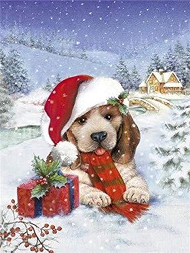 MTDSWHNDQRJ 5D Kerstmis sneeuw wit diamond painting DIY diamantschilderij kristal strasssteentjes borduurwerk schilderijen voor huis decoratie Rundbohrer 20x25CM / 7.9x9.8 IN C02