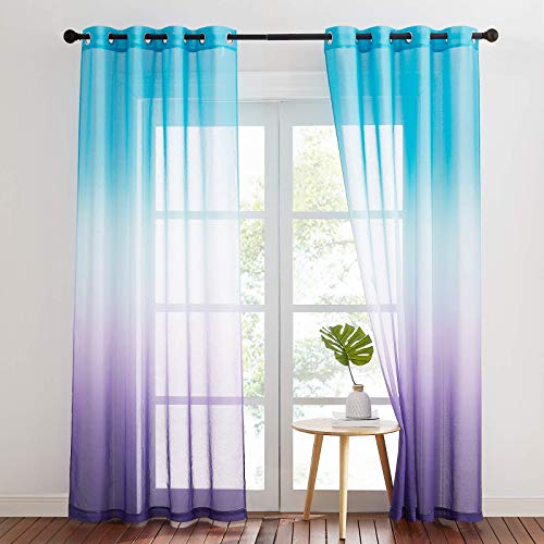 NICETOWN Blaue & Lila Farbverlauf Vorhänge Wohnzimmer - Voile Halbtransparenter Vorhang mit Ösen Dekoschals Gardine Halbtransparent Voile Gardinen, 2er Set H 245 x B 140 cm, Blau+Lila