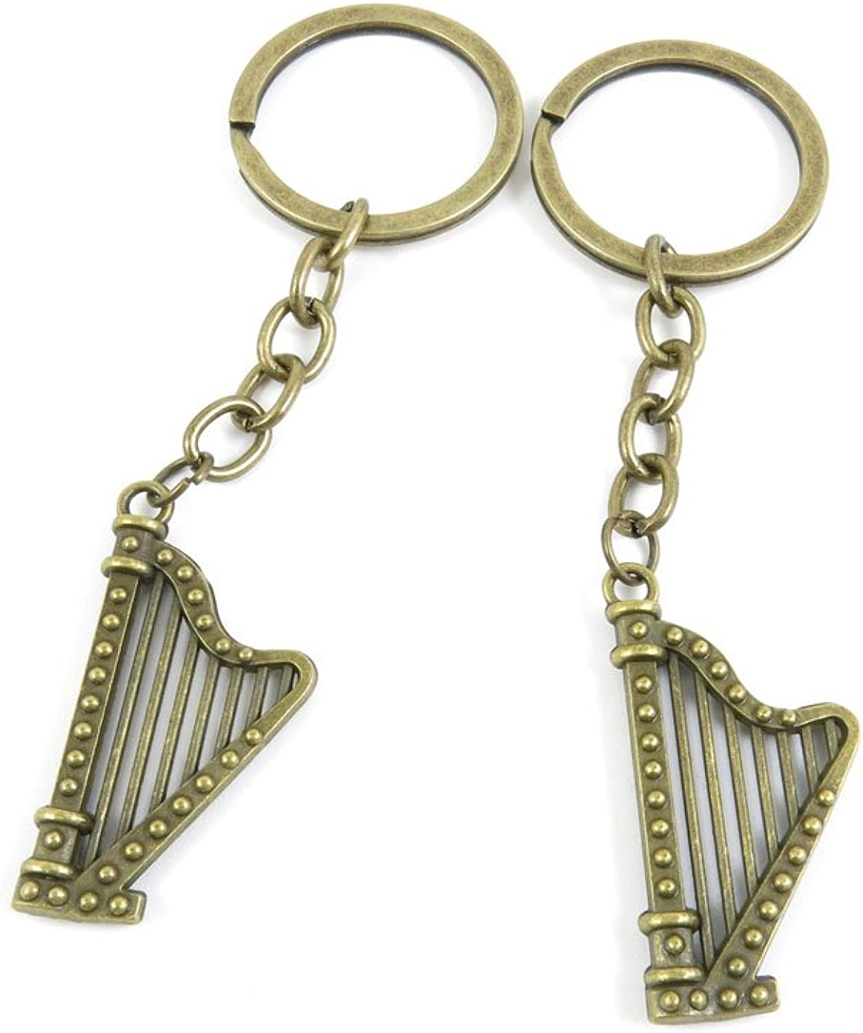 100 PCS Keyrings Keychains Key Ring Chains Tags Jewelry Findings Clasps Buckles Supplies Q3MT0 Irish Harp