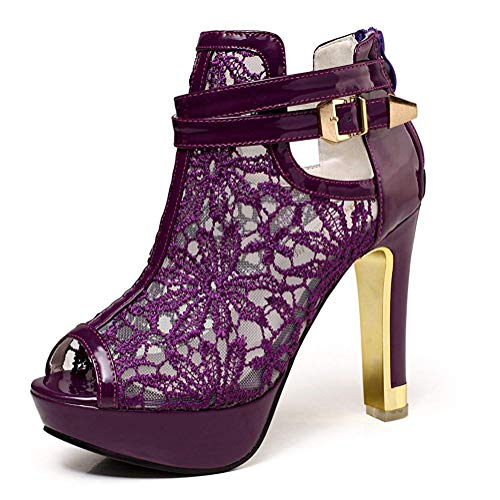 getmorebeauty Women's Pretty Lace Flowers Open Toes High Heels Ankle Boots (7.5, Purple)