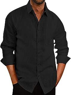 Donottag Mens Casual Linen Cotton Button Down Dress Shirts Loose Fit Beach Shirt