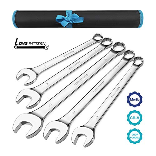 GEARDRIVE Long Pattern Combination Wrench Set, Metric, 5-Piece, 23-30mm, 12 Point, Chrome Vanadium Steel, with Pouch