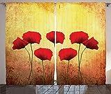 ABAKUHAUS Amapola Cortinas, Retro Amapola Flores, Sala de Estar Dormitorio Cortinas Ventana Set de Dos Paños, 280 x 175 cm, Scarlet Amarillo pálido