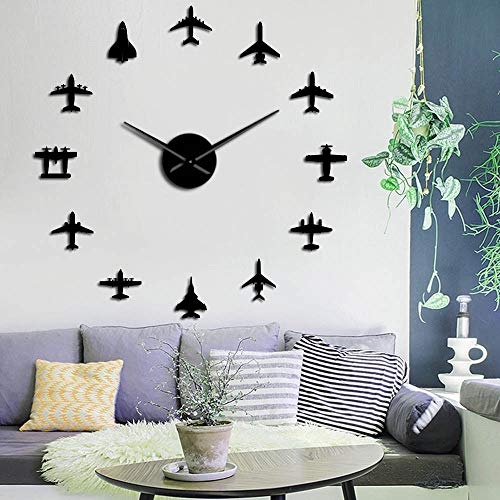 Reloj de pared Diy Avión Avión Jet Diy gigante Reloj de pared Acrílico Espejo Superficie Pegatina Aviador Piloto Decoración del Hogar Adecuado para Decoración del Hogar