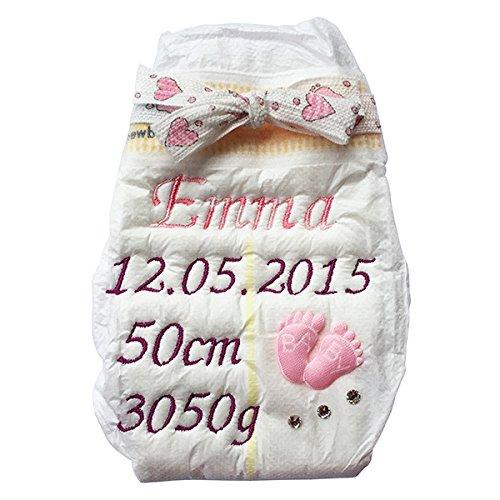 Bestickte Windel für Mädchen - Babyfüßchen