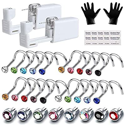 Jewelry Nose Piercing Kit - Romlon Piercing Kit 2Pcs Disposable Sterile Safety Nose Piercing Gun Tools with 20Pcs Stainless Steel Rhinestone Nose Rings Studs Piercing Jewelry Kit for Women and Girls