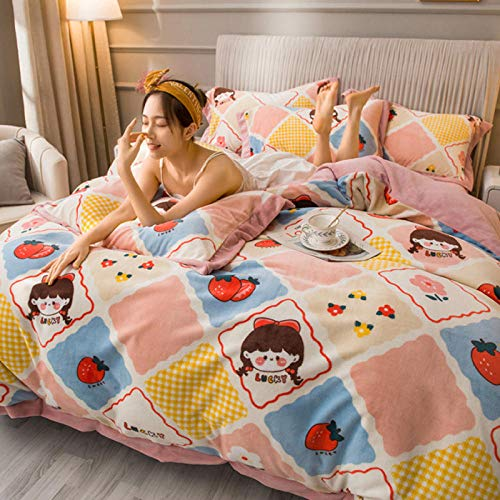 Shinon boys duvet cover single-Autumn and winter cotton thick bedding flannel sheets, quilt covers, pillowcases, etc.-SHE IS_1.8m bed (4 pieces)