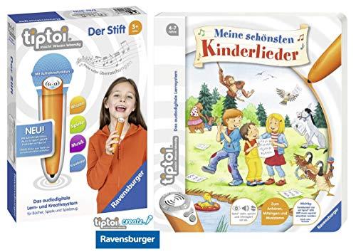 tiptoi Ravensburger Kinder-Buch 4-7 | Meine schönsten Kinderlieder + Ravensburger 008018 Stift - neu mit Aufnahmefunktion