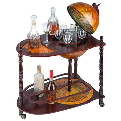 Design Toscano Old World Extended Shelf Italian Replica Globe Bar Cart, Tan,Sepia Finish,Globe Bar With Extended Shelf