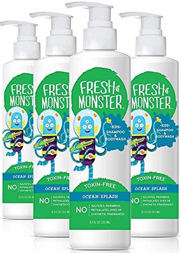 Fresh Monster Kids Shampoo and Body Wash, 8.5 Ounce (Ocean Splash, 4 Count)