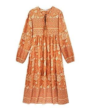 R.Vivimos Women s Long Sleeve Floral Print Retro V Neck Tassel Bohemian Midi Dresses  Large Orange