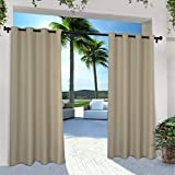 Exclusive Home Curtains Indoor/Outdoor Solid Cabana Grommet Top Curtain Panel Pair, 54x108, Taupe, 2 Piece